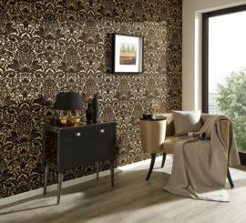 veloers behang barok zwart 33583-4