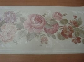 bloemen behangrand rood roze wit 66