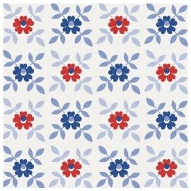 cozz kids 4036 bloemen wit blauw rood  behang