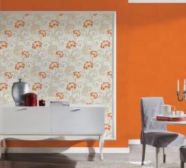 Behang glitter oranje bloemen 30054-1 San Francisco-ASCreation