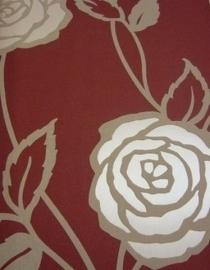 modern bloemen behang rood bruin glim 88