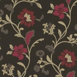 Behang Expresse Jewel bloemen roze zwart