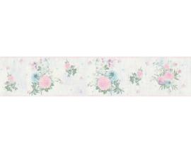 blauw roze bloemen behangrand 35876-2