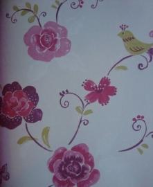 bloemen behang roze groen paars 112