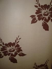 bruin bloemen  vlies behang  23