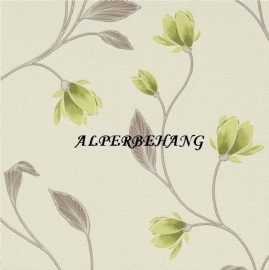 lime creme bloemen vinyl behang 29