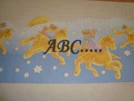 Behangrand blauw met gele paarden