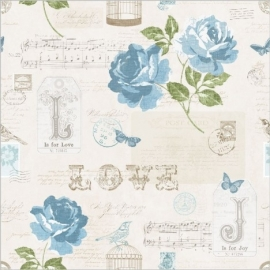 Muriva Sonnet Teal Floral 133503 bloemen behang vogels