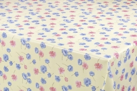 150-046 blauw roze creme bloemetjes tafelzeil