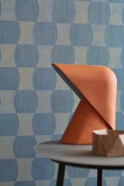 blauw goud retro behang vlies 35869-4