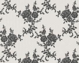 Zwart bloemen glitter behang 110220