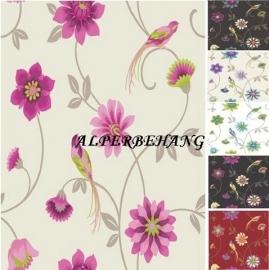 creme paars bloemen en vogel behang 30