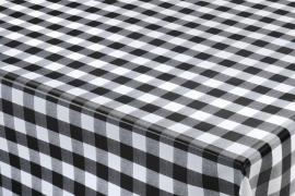 150-043 zwart wit ruitjes tafelzeil