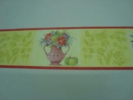 groen rood vaas met bloemen behangrand