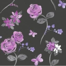 zwart paars bloemen behang 214