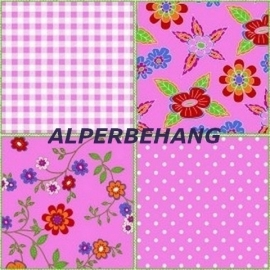 patchwork behang roze 570