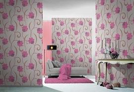 bloemen behang roze paars 106