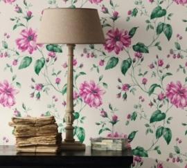 53738 Astoria  Marburg roze groen bloemen vlies behang