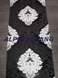 barok vlies behang zwart wit parelmoer 418