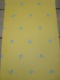 opruiming geel blauw bloemen behang 60