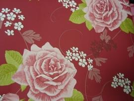 rood roze bloemen vlies behang 60
