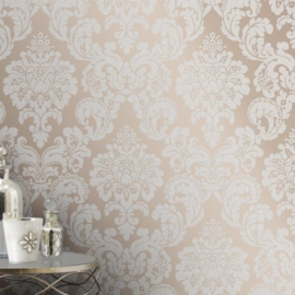 Barok behang brons bling bling glitter en parelmoer Fd42244