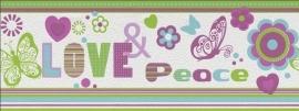Rasch Kids Club 478518 Behangrand Love & Peace paars blauw groen