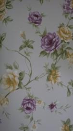 engelse bloemen geel paars behang noordwand 0012