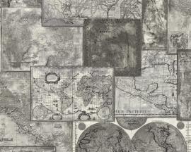 A.S. Creation behang wereldbol kaart 66432-7 / 664327