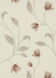creme bruin glitter bloemen behang Erismann 9662-11