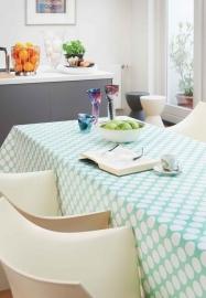 150-021 blauw wit stippen tafelzeil