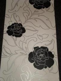 zwart wit zilver bloemen behang 25