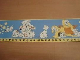 wit blauw klein lief dalmatiers honden behangrand 14