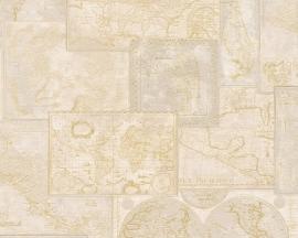 6643-34 Decora natur 5 behang met wereld kaart