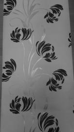 zwart bloemen vlies behang x87