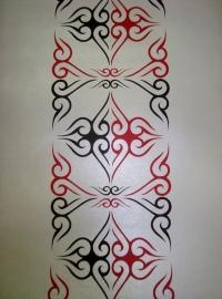 rood zilver tatoo behang