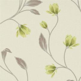 Groen bloemen behang 966207