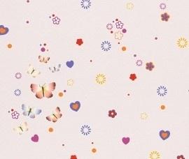 Rasch Kids Club 231045 vlinders behang lichtroze