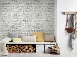 Steen behang  verouderd grijs wit 36280-2