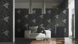 behang glitter zwart zilver 32522-3