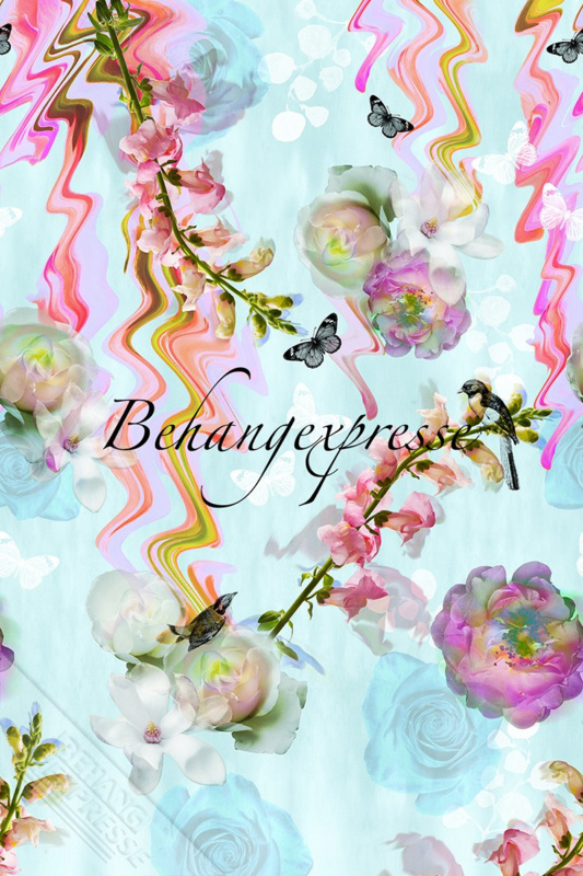 Behangexpresse COLORchoc Wallprint Floral Glitch INK 6054