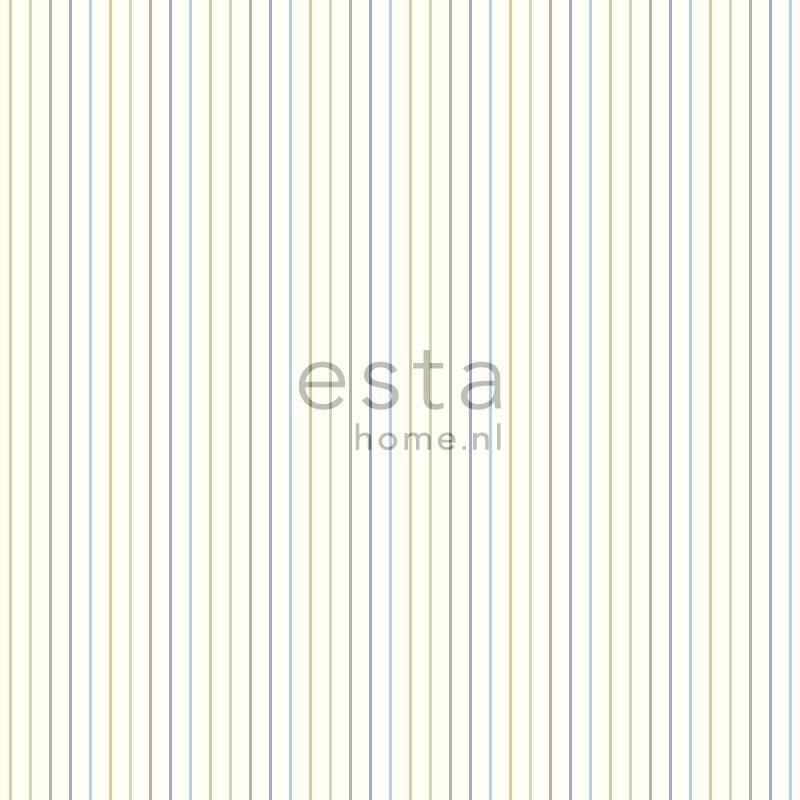 Esta Giggle 137303 blauw bruin streep behang