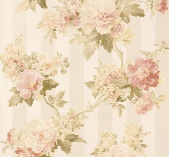 Bloemen behang  Romantica Bloemen creme groen 30446-1 AS Creation