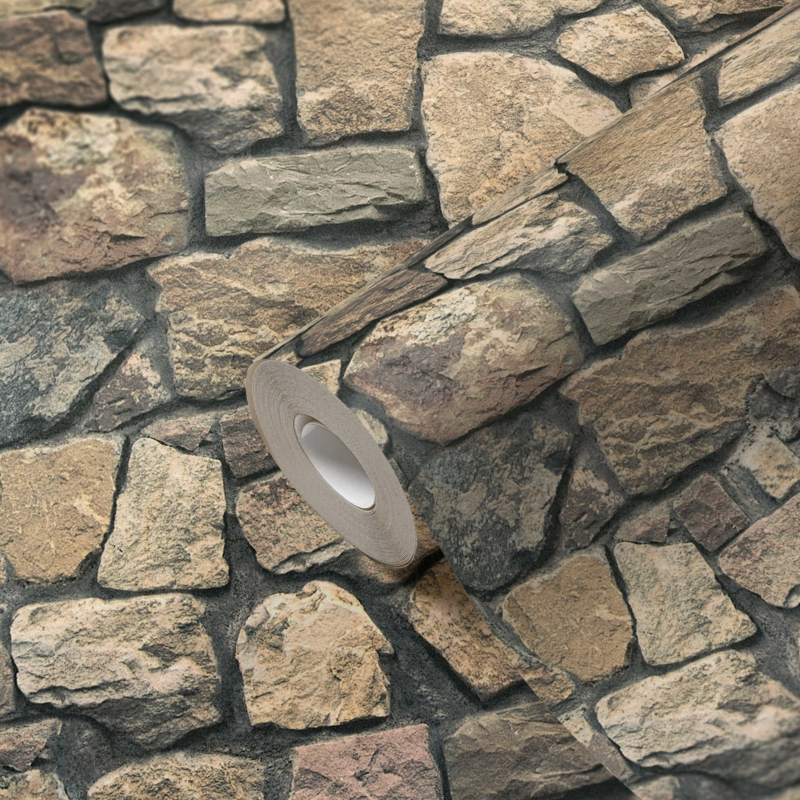 Marokkaanse stijl  859532 bruin grijs natuursteen behang