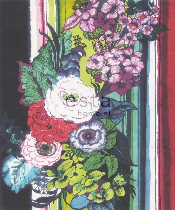 158115 photowallXL flowers rood paars groen bloemen fotobehang