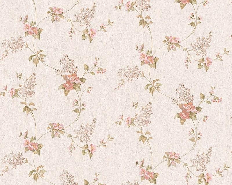 AS Création Villa Rosso satijnen bloemen behang 95928-3