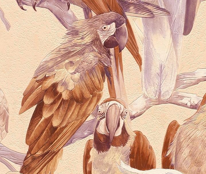 papegaai vogel behang bruin creme beige 823615