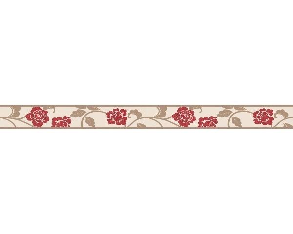 behangrand smal bloemen rood creme 28201-9