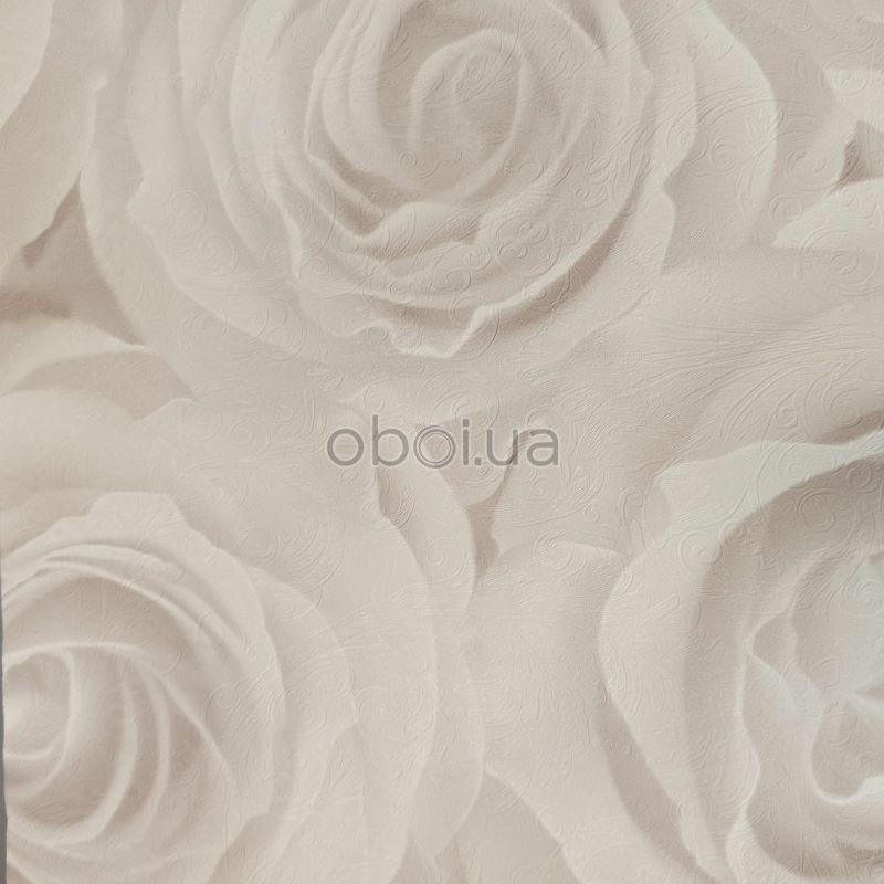 romantische rozen behang taupe 3D effect