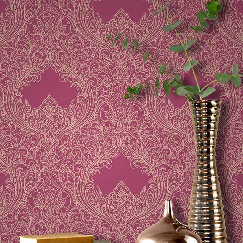 Barok behang rose met glitter 308525